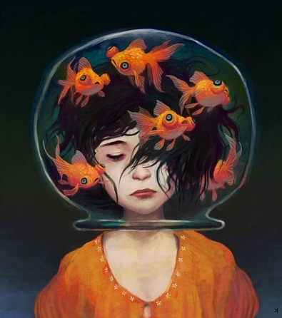 painting of a dark-haired girl with an bowl of goldfish inverted over her head